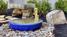 """A bamboo Shishi odoshi spills into an overflowing bowl in this Japanese inspired """"Disappearing Fountain"""". Water Features In The Garden, Water Garden, Planting Succulents, Small Spaces, Fountain, Bamboo, Patio, Vases, Outdoor Decor"""