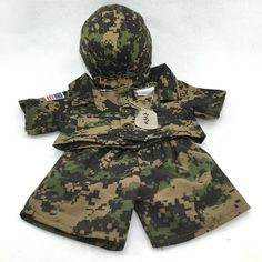 Build A Bear Workshop BABW Clothes Camo Army Military Outfit Lot Set | eBay