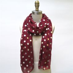 Garnet Scarf with Silver Foil Dots © Two's Company