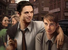 Just your normal kids from Brooklyn. I adore tiny Steve, he is so cute. Bucky agrees, obviously. Painted in PS3, Bamboo Tablet. Disclaimer: I don't own the characters, unfortunately.