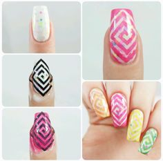 How to create a rainbow swirl  manicure using our Square Swirl Nail Vinyls found at snailvinyls.com