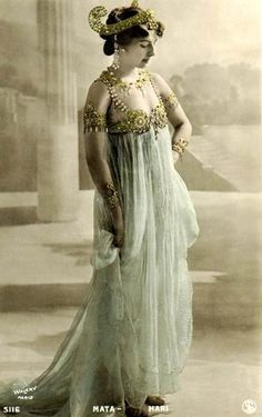 """Mata-Hari"" Mata Hari was an exotic dancer and courtesan who was arrested by the French and executed for espionage during World War I. After her death, her stage name, ""Mata Hari,"" became synonymous with spying and espionage."