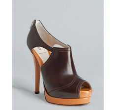 Fendi chestnut and caramel peep toe booties ...chestnuts roasting on an open....