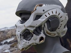 Sci-Fi Helmet Mask with some influence from human bone structure. Futuristic Helmet, Futuristic Armour, Cyberpunk Fashion, Cyberpunk Art, Helmet Design, Mask Design, Armor Concept, Concept Art, Human Bone Structure