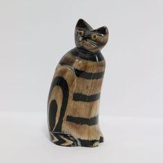 "WATER BUFFALO HORN SITTING CAT HAND CARVED FIGURINE / 4"" TALL   eBay"