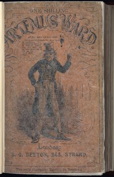 Artemus Ward. 1865. Brown paper cover on copy at British Library shelf mark 12316bb14