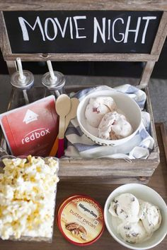 """This movie night date crate is the perfect way to have a date night at home while your little one is asleep! Share some popcorn, a movie and Häagen Dazs® ice cream in these DIY """"yours and mine"""" ice cream bowls for a quiet date night at home. Romantic Date Night Ideas, Romantic Dates, Romantic Dinners, Home Date Night Ideas, Romantic Gifts, Hollywood Party, Cute Date Ideas, Creative Date Ideas, At Home Date Nights"""