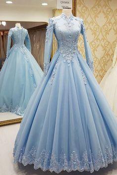 Light Blue Formal Occasion Dress ,Long Sleeves Long Prom Dresses ,Charming Prom Dress, Sexy Prom Dre on Luulla Formal Evening Dresses, Elegant Dresses, Pretty Dresses, Evening Gowns, Beautiful Dresses, Dress Formal, Winter Ball Dresses, Evening Party, Casual Dresses