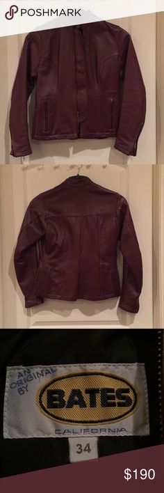 Maroon leather motorcycle jacket Never been worn  In excellent condition bates Jackets & Coats