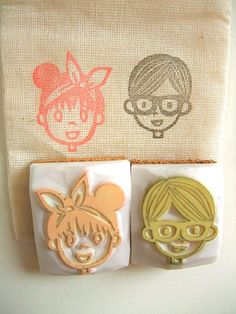 Boy/Girl rubber stamp -