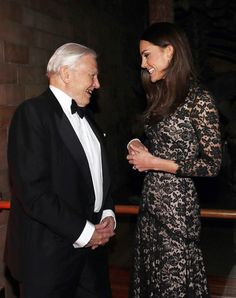Catherine, Duchess of Cambridge meets British naturalist David Attenborough before a screening of David Attenborough's Natural History Museum Alive 3D at Natural History Museum on December 11, 2013 in London, England.