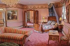 "Pink bedroom in Tyler Perry's residence ""Dean Gardens"""