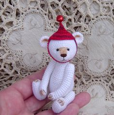 Artist Bear Thread crocheted OOAK Miniature by crocheteddybears