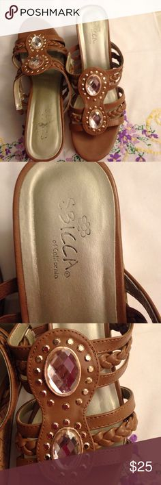 Shoes Brown sandals with beautiful details. Size 8 M, heels 3 inches high. Barely used,  in very good condition. Sbicca Shoes Platforms