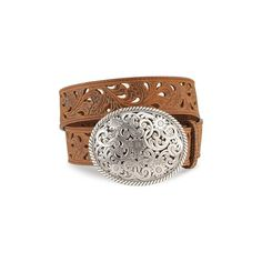Tony Lama Women's Floral Cutout Leather Belt Brown 34 Made by #Tony Lama Color #Bark. Tooled Leather Belt With Cutout Accents. Fancy scrolled filigree silver-tone belt buckle. Removable buckle and tooled leather keeper