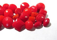 Red Glass Diminutive Buttons VINTAGE Thirty (30) Assorted Diminutive Red Glass Buttons Antique Vintage Button Valentine Jewelry Supply (R2) by punksrus on Etsy