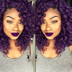 30 Bold and Trendy Dark Purple Hair Color Ideas for American Women!If you're looking for a rocking new hair shade, you should think about these bold dark purp Purple Natural Hair, Purple Hair Black Girl, Dark Purple Hair Color, Curly Purple Hair, Purple Rain, Black Hair, Curly Hair Styles, Natural Hair Styles, Colored Curly Hair