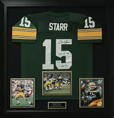 Bart Starr Signed Green Bay Packer Jersey Display.