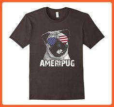 Mens Funny Dog American Flag Glasses Pug T-Shirt 4th of July Gift Small Asphalt - Funny shirts (*Partner-Link)