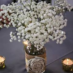 mason jars and baby 39 s breath centerpieces pinterest ideas before and after completed. Black Bedroom Furniture Sets. Home Design Ideas