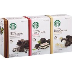 Holiday Starbucks Hot Cocoa Mix - YUMMY! Why don't they have these all year! http://www.amazon.com/dp/B00CC3ZSB4?m=A2P937E183PRRG&ref_=v_sp_widget_detail_page