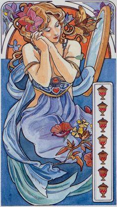 7 de coupes - Tarot art nouveau par Antonella Castelli