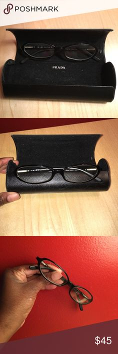 Auth Prada Prescription Eyeglasses Black GUC Prada Prescription Eyeglasses Black. Normal pre-owned wear. You will need to have the lenses changed to your prescription. No Trades Prada Accessories Glasses