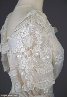 EMBROIDERED LACE TEA GOWN, c. 1905 (Detail) Antique Lace, Old Things, Lace Dress, Auction, Dress Lace, Lace Dresses