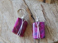 Fuchsia Crazy Lace Agate Dangle Earrings on by UniqueChiqueJewelry