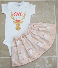 Deer First Birthday Outfit onesie and skirt by noellebydesign More