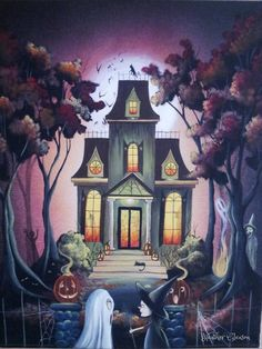 Halloween Haunted House Print by Artist Heather Gleason of My Eclectic Mind Halloween Quilts, Retro Halloween, Vintage Halloween Cards, Halloween Pictures, Holidays Halloween, Happy Halloween, Halloween Night, Halloween Stuff, Halloween Ideas
