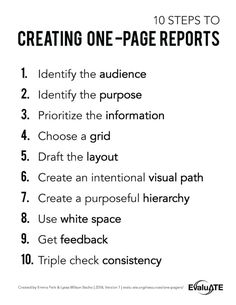 One-Page Reports - EvaluATE Form Example, Prioritize, First Page, Data Visualization, Teaching, School, Life, Ideas, Learning