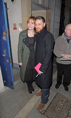 James McAvoy with his wife, Anne-Marie Duff at the stage door of Trafalgar Studio in London on Press Night for Macbeth on Feb. 22, 2013.