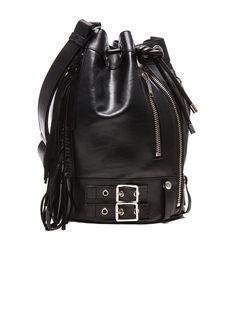 Saint Laurent Medium Rider Fringe Bucket Bag in Black | FWRD