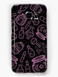 Pink Witchy Stuff Samsung Galaxy Caes by WitchyShop #WitchyShop #wicca #painting #sketch #magic #outline #witch #witchcraft #pattern #pink #drawing #black #halloween #gothic #potions #alchemy #spell #bottles #art #illustration #cobweb #spider #web #magickal #vials #redbubble #accessories #phone #case #skin