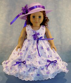 Purple Floral Eyelet Gown and Hat made to fit 18 by JaneEllen2