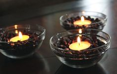 COFFEE BEAN CANDLES Your house will smell like fresh coffee when burning these candles. Fill small, inexpensive glass or ceramic dishes from...