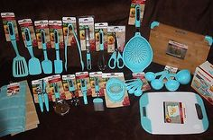 KitchenAid Aqua Blue/Turquoise 32pc set/lot whisk Tongs colander spatula bowls