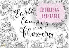 Frühlings-Printable|Doodle and Handlettering|Freebie|Gelbkariert