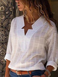 Blouse Models, Shirt Bluse, Spring Shirts, White V Necks, Types Of Sleeves, Shirt Style, Casual Shirts, Long Sleeve Shirts, Pullover
