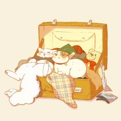 Neko America: I'm in a suitcase! Neko England: Where are we going?