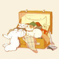 Neko America: I'm in a suitcase! Neko England: Where are we going?