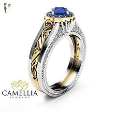 Halo Sapphire Engagement Ring 14K White & Yellow Gold Ring Vintage Ring - Wedding and engagement rings (*Amazon Partner-Link)