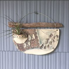 Ceramic air plant holder (includes one plant, similar to one pictured) -Textured and Glazed (lead fr Porcelain Clay, Ceramic Clay, Ceramic Bowls, Slab Pottery, Ceramic Pottery, Pottery Vase, Pottery Handbuilding, Ceramic Wall Art, Ceramics Projects