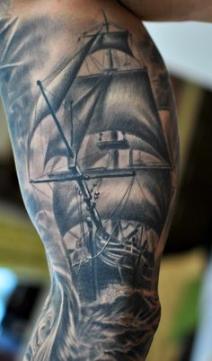 Completely healed part of full sleeve tattoo by @marispavlo   #ship #sailing #sailingship #ocean #blackngray #blackandgray #wawes #sea #tattoofrequency #art #ink #share #like #follow