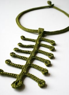 Fiber Art Jewelry - Silk Crocheted Lace Necklace / Lariat - Olive Green