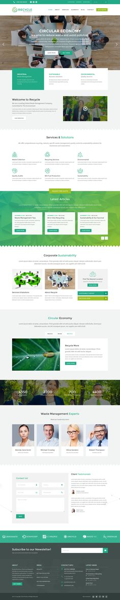 This is Recycle. A beautiful environmental WordPress Theme designed for green businesses and organizations. #webdesign #WordPress #environment #nature #green #theme