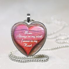 Memorial Necklace- Mom, Always on my mind, Forever in my heart by TributeCodeInc on Etsy