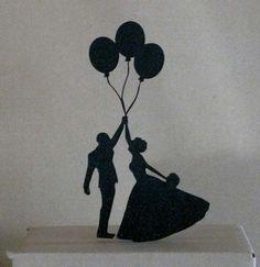 Bildergebnis für hochzeitspaar silhouette ballons