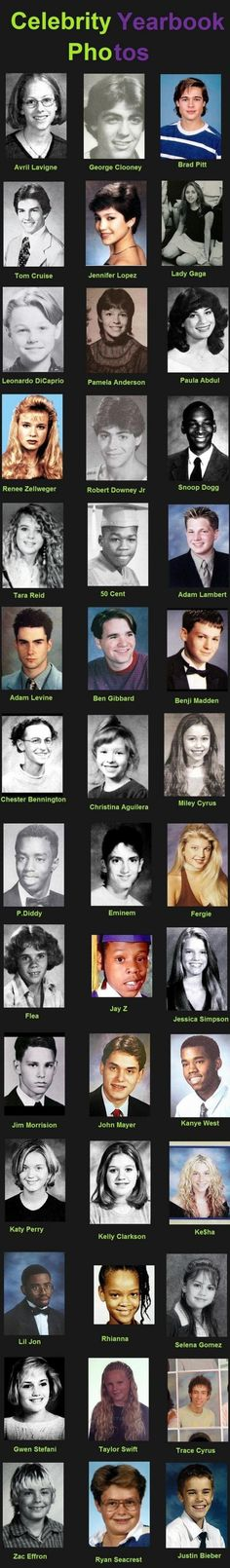 Some I recognise well, like Selena Gomez, Leonardo DiCaprio, Rihanna and Adam Levine, but EMINEM YOU SCARED ME Lol that moment when you see Justin beiber at the bottom of the page ha! Eminem, Young Celebrities, Celebs, Young Actors, Celebrity Yearbook Photos, Yearbook Pictures, Funny Yearbook Quotes, Celebrity Pictures, Rage Comic